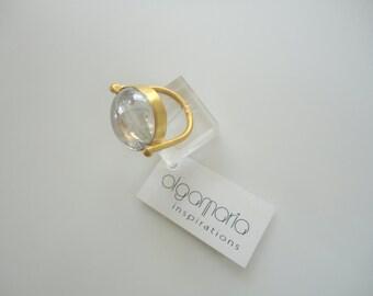 Chevalier Ring Bijoux Gold plated Glass White stone Silver Minimal Jewelry Gift Women Elegant Fine Modern Fashion Made in Greece Handmade