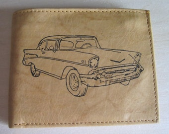 """Mankind Wallets Men's Leather RFID Blocking Billfold w/ """"1957 Chevrolet Belair"""" Image~Makes a Great Gift!"""