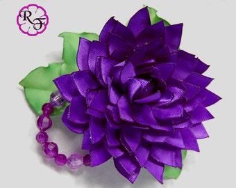 Kanzashi flower ,Dalia satin flower , french barrette , purple flower hair accessory