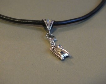 """3D TANK pendant on a black Leather necklace, 17"""" + 2"""" ext chain with a lobster clasp. Lead and nickel free."""