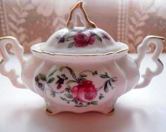 Vintage China Sugar Bowl/  Rose Pattern With Gold Trim