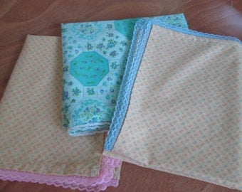 Set of three baby girl receiving blankets. Free Shipping!