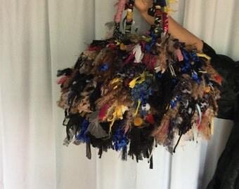 vintage fabric and yarn bag