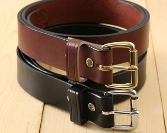 "1.5"" Bridle Leather Belt_Handmade Mens Leather Belt_Brass Roller Buckle_Black, Brown_American Leather"