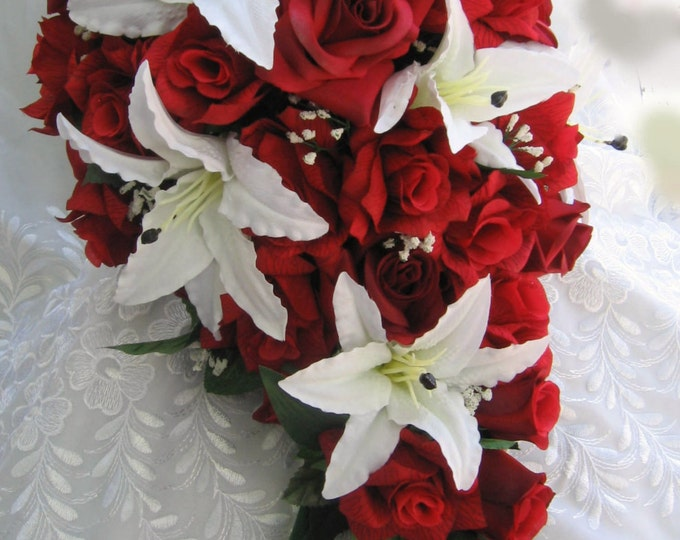 Red roses and white  lilies bridal bouquet  2 pieces