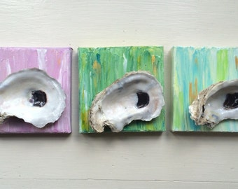 3 oyster shell paintings