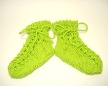 Hand knit baby socks green lace for summer wear with ties cotton socks for babies knitted baby socks green lace socks infant socks