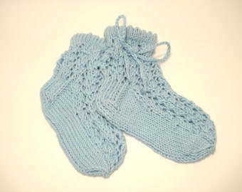 Knit baby boy socks blue color for summer with ties socks of lace baby boy blue socks cotton socks lace knitted socks for babies