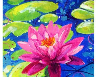 """Water Lilies - Original colorful traditional painting paper acrylic 8.5""""x11"""""""