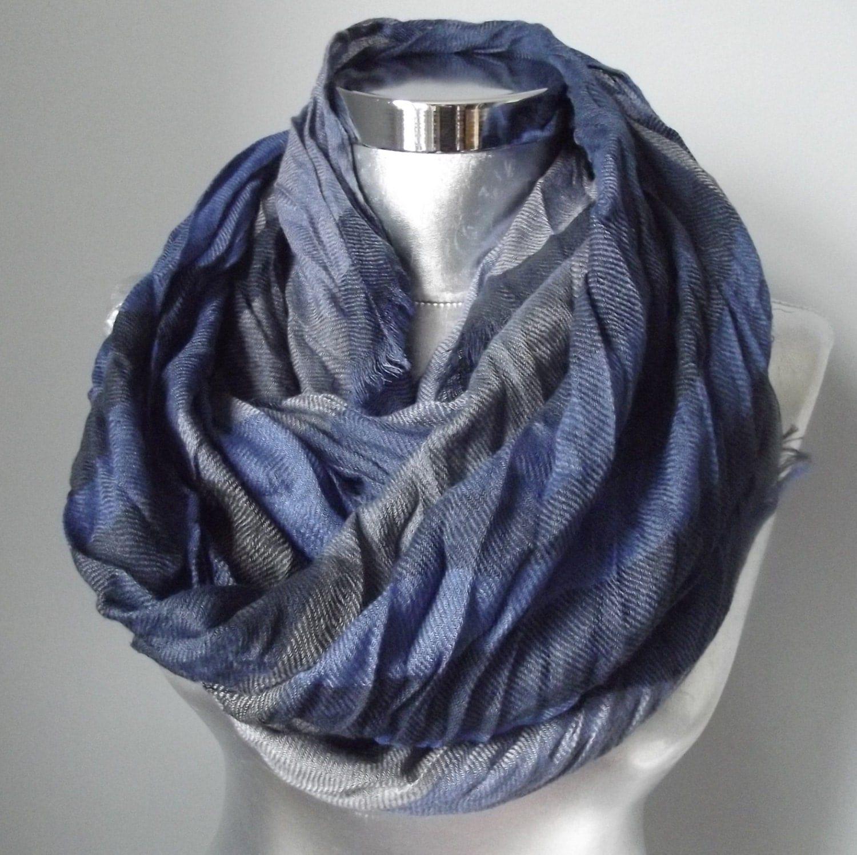 mens infinity scarf blue plaid scarf infinity scarf by