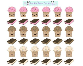 Kawaii Ice cream Cones/Sandwich Stickers!-027
