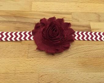 Shabby Burgundy Flower with Burgundy Chevron Elastic Headband - Hair Accessories - Baby HeadBand