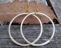 Gold Hoop Earrings, Big Matte Gold Hoop Earrings, Light Weight Hoop Earrings, Hoop Earrings, Big Dangle Earrings, Single Hoop Earrings
