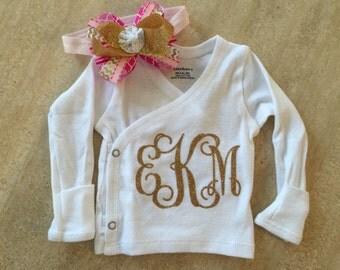 Custom monogrammed hospital shirt and matching bow set