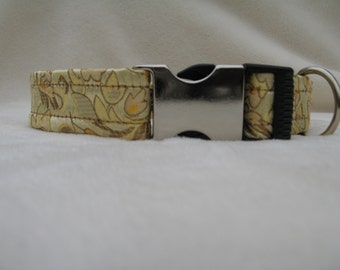 Buckle Dog Collar, Gold Brocade, with Shades of Pink and Green with Green Satin lining, Metal Plastic Hybrid Buckle,