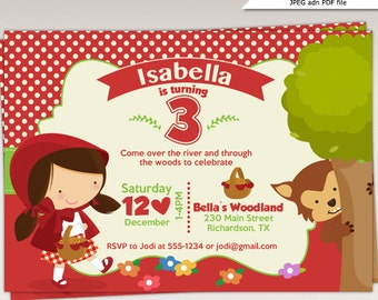 Little Red Riding Hood Birthday Party printable invitation - Little Red Riding Hood Birthday Party Invite #482
