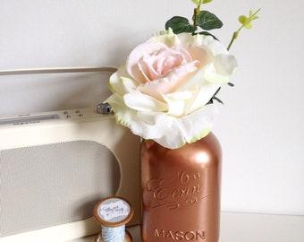Metallic copper large mason jar