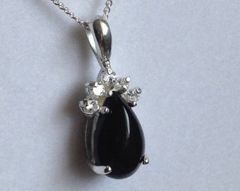 """Vintage 18"""" Sterling SILVER Necklace w/ ONYX Colored Cabochon  - 925"""