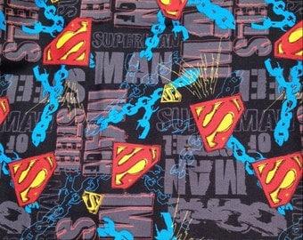 "SUPERMAN Man of Steel / DC Comics / David Textiles  ~100% Cotton Fabric -  14"" REMNANT"