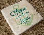 Stone Coasters, Set Of 4 - Nautical, Anchor, Scripture