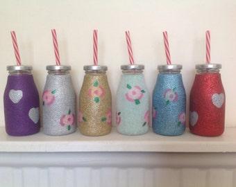 Glitter milk bottles with plastic straw