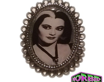 Lily Munster Silver Tone Horror Badge/Brooch