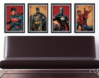 Superhero Poster Set of 4 – wall decor 11 x 17 Superman Batman Captain America Spiderman