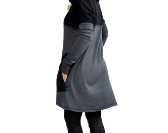 Gray Casual loose Cotton dress/Handmade long sleeves tunic/Black oversize cotton maxi dress/Hooded Dress Tunic Top/Plus size dress/T1261