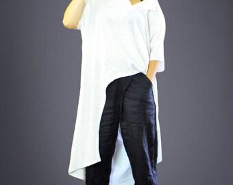 NEW COLLECTION White 100% linen shirt/Summer shirt/Woman long  sleeves shirt/Casual amazing oversize top/Maxi asymmetrical shirt/T1215