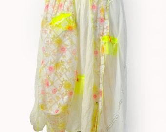 White long skirt/Casual woman skirt/Long parachute fabric and cotton skirt/Asymmetrical long skirt/yellow pockets/Urban white skirt/S1430