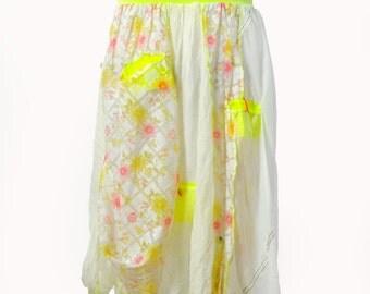 White long skirt/Casual woman skirt/Long parachute fabric and cotton skirt/Asymmetrical long skirt/yellow pockets/Urban white skirt