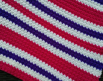 Striped baby blanket, crochet carseat blanket, stroller blanket in hot pink, purple and white