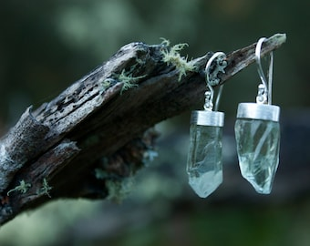 Raw Green Amethyst Earrings with Brushed Sterling Silver