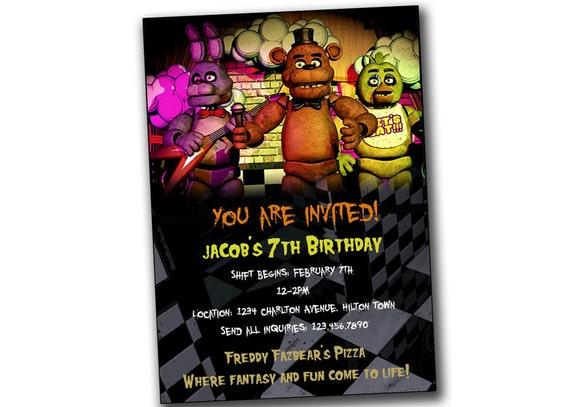 Five nights at freddy s invitation five nights at freddy s birthday