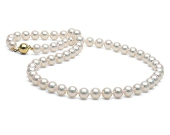 Classic White Cultured Japanese Akoya Pearl Necklace, 18-Inches, AAA Quality, 14K Gold Clasp