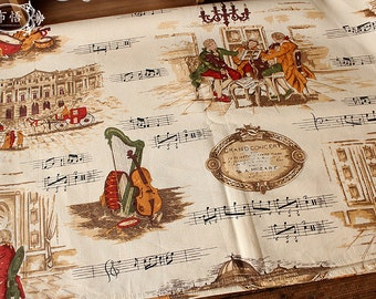Cotton Linen Fabric Vintage Noble Concert Story Beethoven Music Home Decor Curtain Quilting Fabric - 1/2 Yard h30