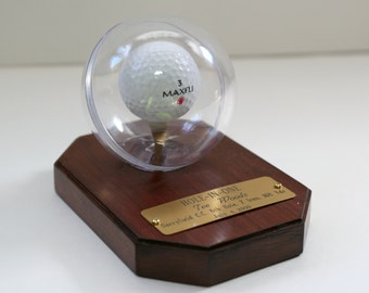 "Solid Cherry Golf Ball ""Hole-in-One"" Display"