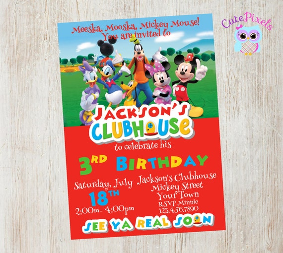 Mickey Mouse Clubhouse Invitation, Mickey Mouse Birthday ...