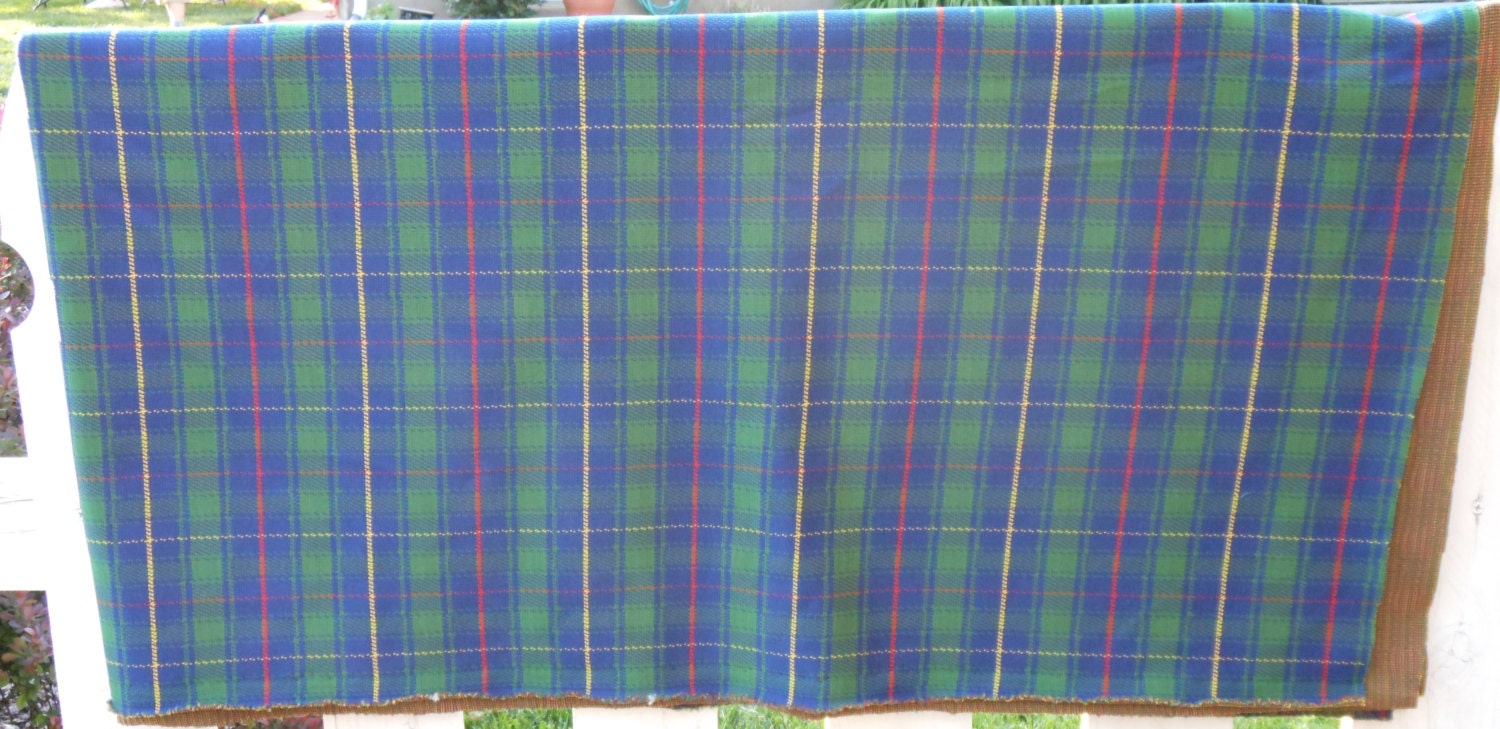 Vintage Blue and Green Plaid pattern fabric by HenryBarking