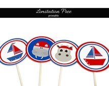 Nautical cupcake toppers, Blue and red printable toppers, Instant download printable party decorations, Nautical party printables, Sea party