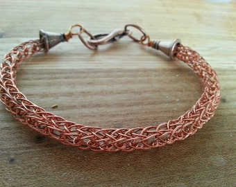 Copper Single Strand Viking Knit Bracelet