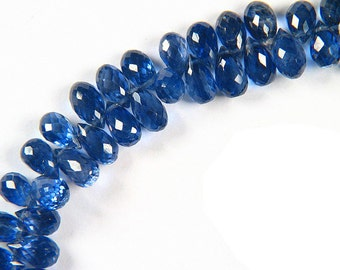 Ceylon Blue Kyanite Micro-faceted Drop Briolette Beads Natural Gemstones Deep Ceylon Sapphires Royal Blue Color Top Quality Genuine Gems 10x