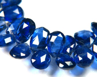 Finest Kashmir Blue Kyanite Full Strand Rose Cut Faceted Pear Briolette Beads - Natural Untreated Gemstones with Royal Blue Sapphire Color