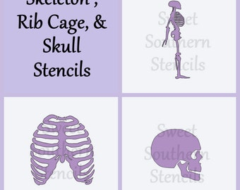 Skeleton, Rib Cage, and Skull Stencils