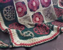 Wildwood Flower Crochet Afghan Blanket, pure wool in shades of green and terracotta with tassels and bobbled border; What a creative gift!