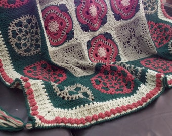 REDUCED PRICE! Wildwood Flower Crochet Afghan Blanket, pure wool in shades of green and terracotta with tassels and bobbled border