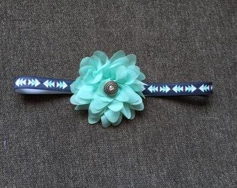 Handmade Baby Headband: Arrow Aztec Headband with Sea Foam Chiffon Flower and Round Stone