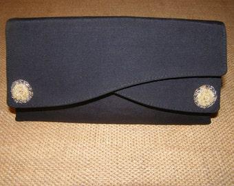 Vintage Black w/Bead & Rhinestone Accents Evening Clutch w/Beveled Mirror Pocket