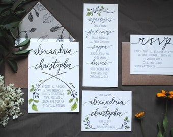Handmade Custom Blackberry Wedding Invitation Set