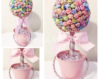 LARGE PINK Lollipop Topiary, Pink Theme Candy Topiary, Lollipop Topiary, Candy Centerpiece,Lollipop Centerpiece,DumDum Lollipop Topiary